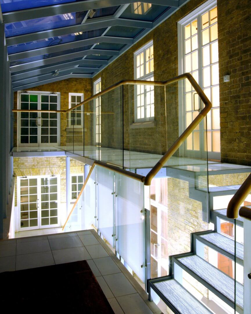 Walkway made using Mykon toughened glass panels