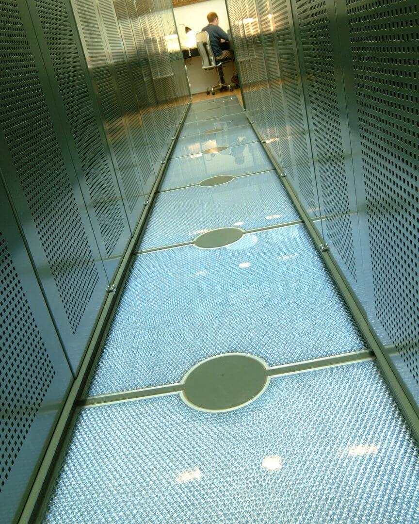 Glass flooring panels by Mykon