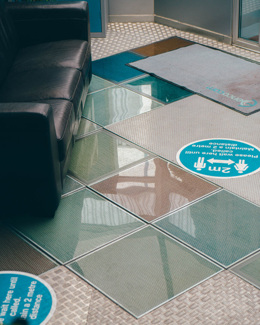 Translucent flooring panels manufactured by Mykon