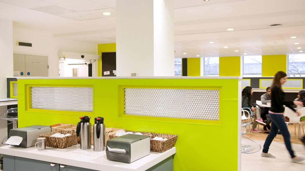 Kitchen partitions made with Mykon's decorative composite panels